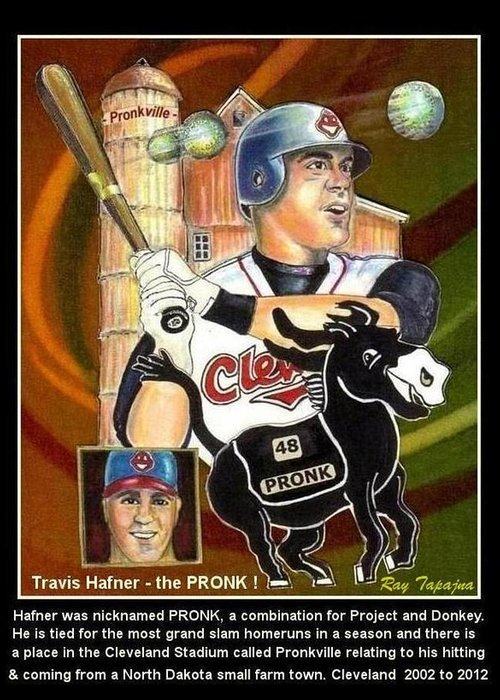 Baseball Player. Rare Collectible Greeting Card featuring the mixed media Travis Hafner The Pronk by Ray Tapajna