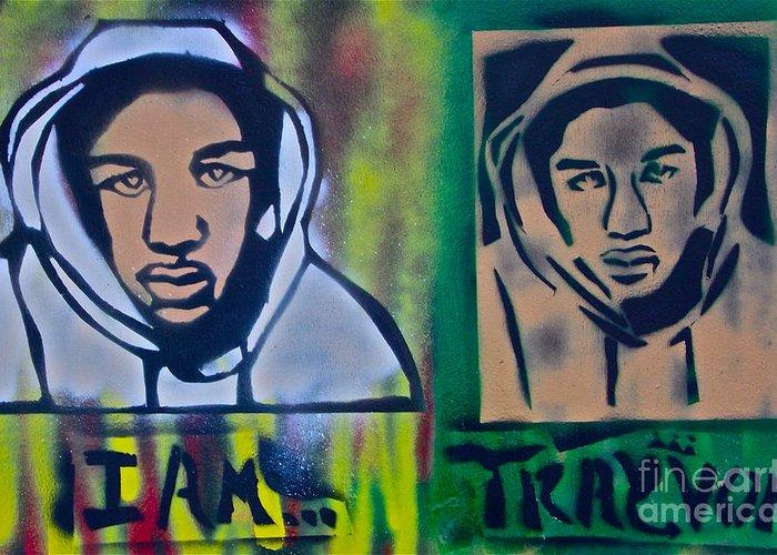 Trayvon Martin Greeting Card featuring the painting Trayvon Martin by Tony B Conscious