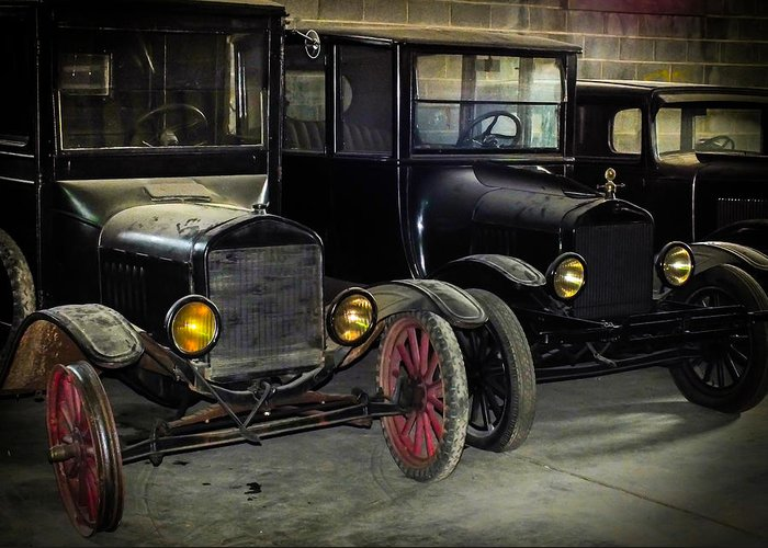 Antique Cars Greeting Card featuring the photograph Treads Of Time by Karen Wiles