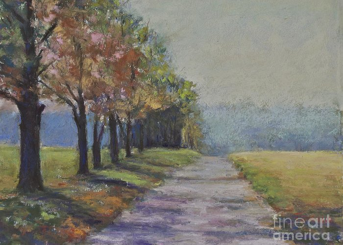 Autumn Greeting Card featuring the pastel Treelined Road by Joyce A Guariglia