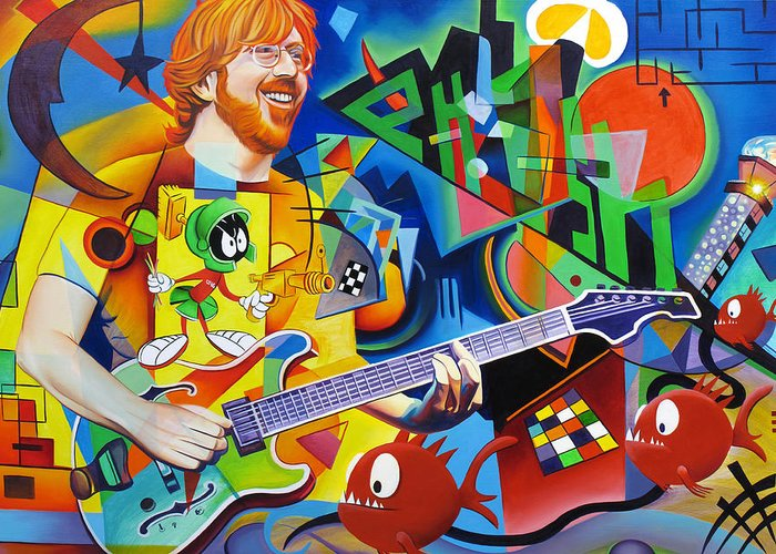 Trey Anastasio Greeting Card featuring the painting Trey Kandinsky by Joshua Morton