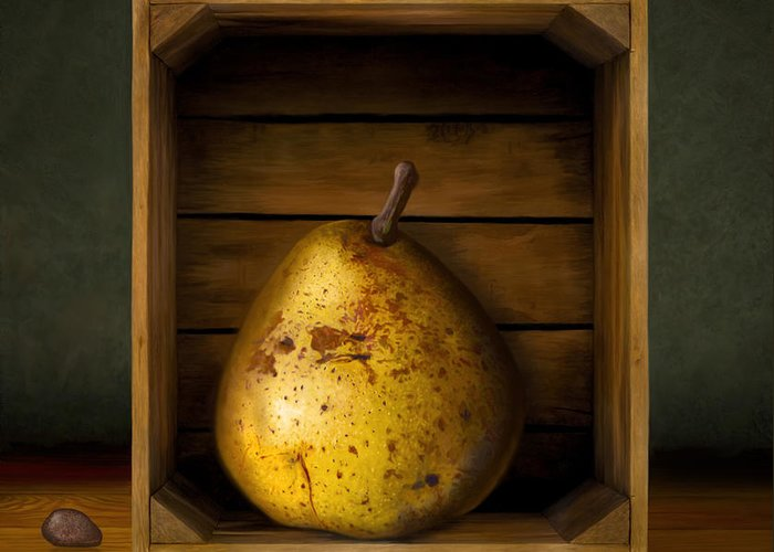 Pear Greeting Card featuring the digital art Tribute To Magritte by Bob Nolin