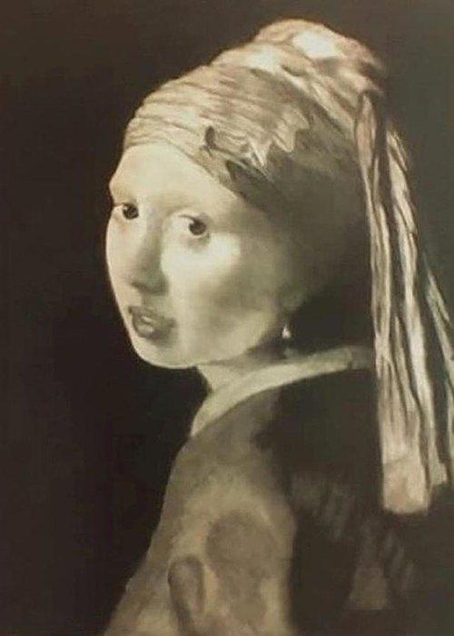 Vermeer Greeting Card featuring the drawing Tribute To Vermeer Homenaje A Jan Vermeer by Fernando A Hernandez