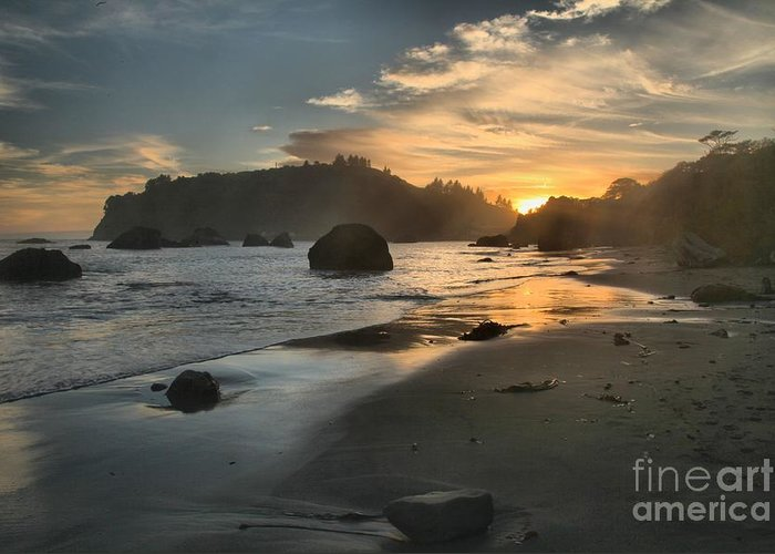 Trinidad State Beach Greeting Card featuring the photograph Trinidad Sunset Reflections by Adam Jewell