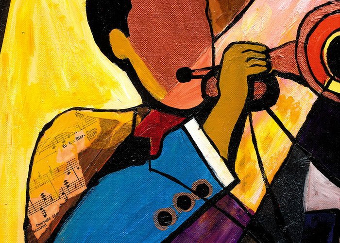 Jazz Art Greeting Card featuring the painting Trip Trio 1 Of 3 by Everett Spruill