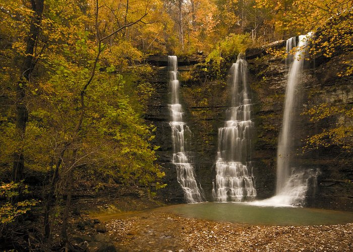 Landscape Greeting Card featuring the photograph Triple Falls by Ryan Heffron