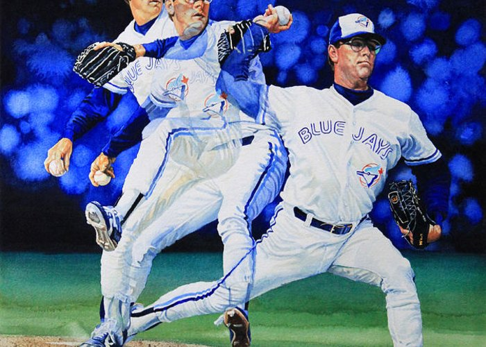 Sports Art Greeting Card featuring the painting Triple Play by Hanne Lore Koehler
