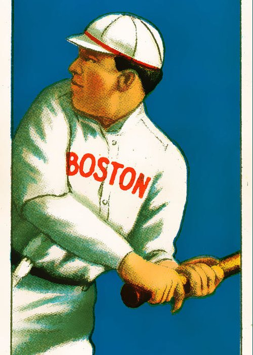 Baseball Card Greeting Card featuring the photograph Tris Speaker Boston Red Sox Baseball Card 0520 by Wingsdomain Art and Photography