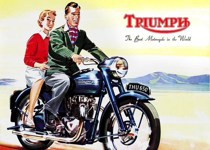 Vintage Motorcycle Greeting Card featuring the photograph Triumph 1953 by Mark Rogan