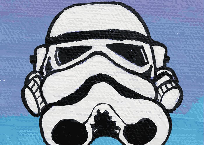 Trooper Greeting Card featuring the painting Trooper On Purple by Jera Sky