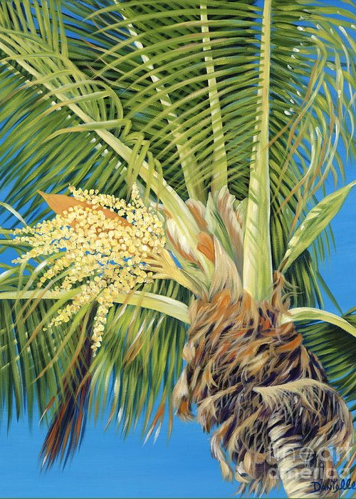 Palm Tree Greeting Card featuring the painting Tropical Bloom by Danielle Perry