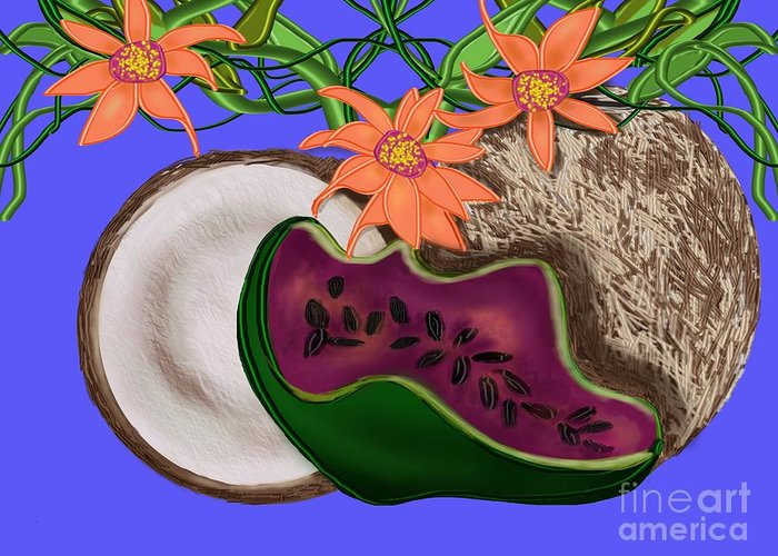 Coconut Greeting Card featuring the digital art Tropical Fruit by Christine Fournier