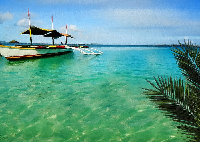 Tropical Greeting Card featuring the digital art Tropical Getaway by Lourry Legarde