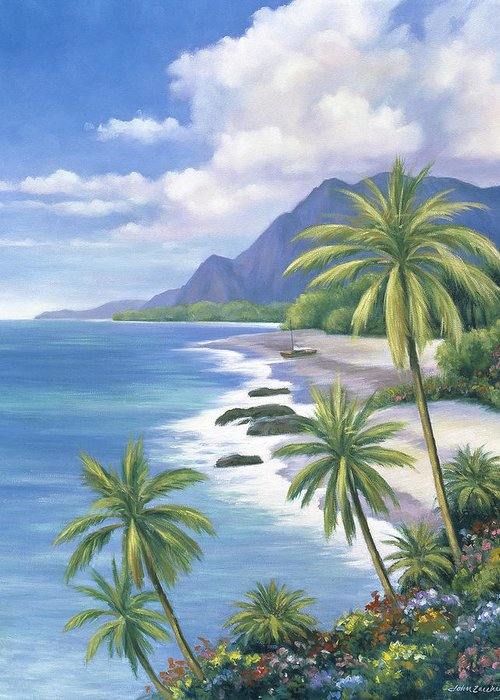 Pallet Greeting Card featuring the painting Tropical Paradise 2 by John Zaccheo