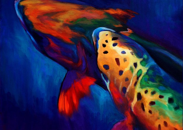 Brown Trout Paintings Greeting Card featuring the painting Trout Dreams by Savlen Art