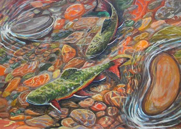 Trout Greeting Card featuring the painting Trout Stream by Jenn Cunningham