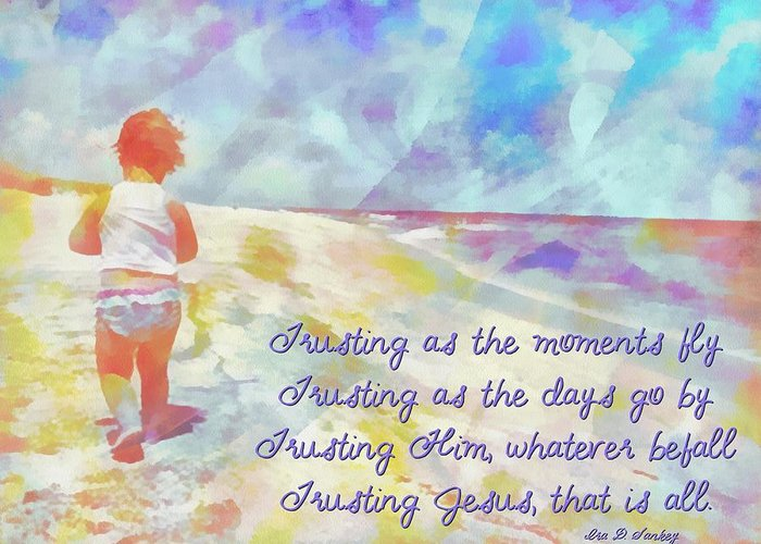 Jesus Greeting Card featuring the digital art Trusting by Michelle Greene Wheeler
