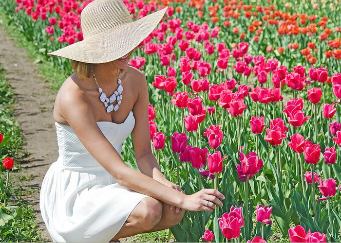 Woman Greeting Card featuring the photograph Tulip Beauty by Maria Dryfhout