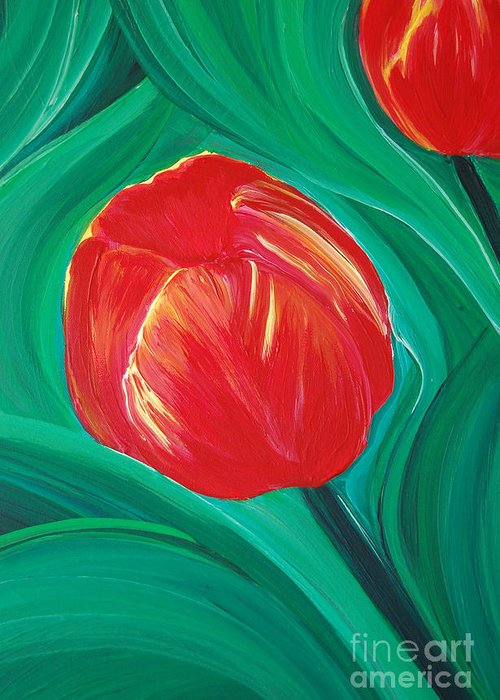 First Star Art Greeting Card featuring the painting Tulip Diva By Jrr by First Star Art
