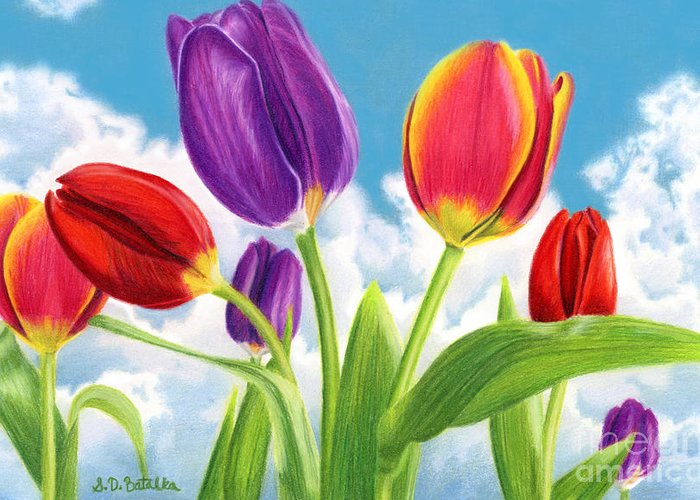 Tulips Greeting Card featuring the painting Tulip Garden by Sarah Batalka