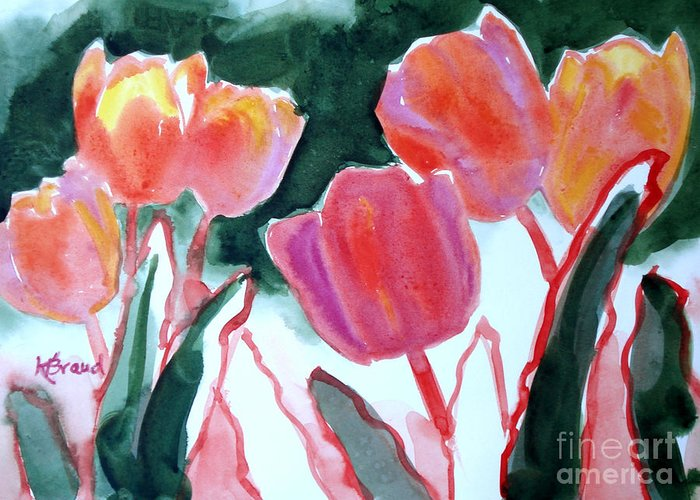 Paintings Greeting Card featuring the painting Tulips For The Love Of Patches by Kathy Braud