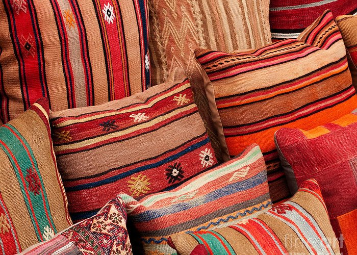 Traditional Greeting Card featuring the photograph Turkish Cushions 02 by Rick Piper Photography