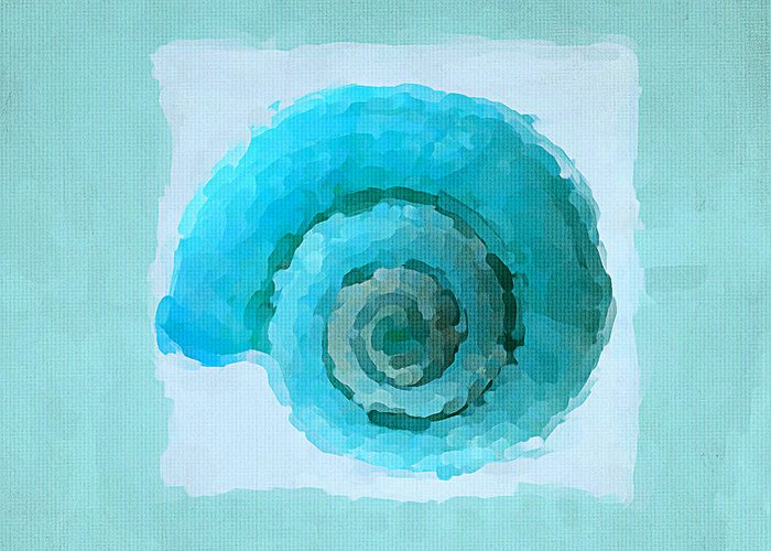 Seashell Greeting Card featuring the painting Turquoise Seashells IIi by Lourry Legarde