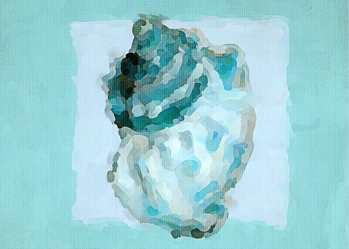Seashell Greeting Card featuring the painting Turquoise Seashells Vi by Lourry Legarde