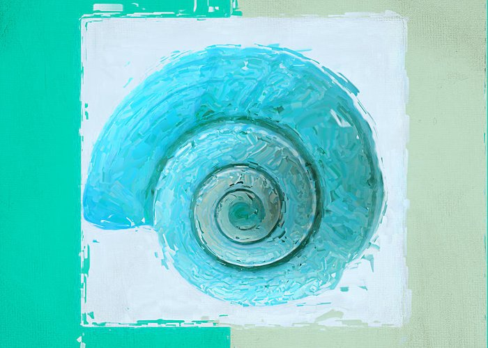 Seashell Greeting Card featuring the painting Turquoise Seashells X by Lourry Legarde