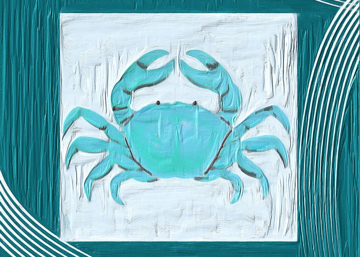Seashell Greeting Card featuring the painting Turquoise Seashells Xix by Lourry Legarde