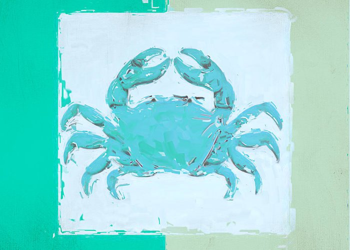 Seashell Greeting Card featuring the painting Turquoise Seashells Xv by Lourry Legarde