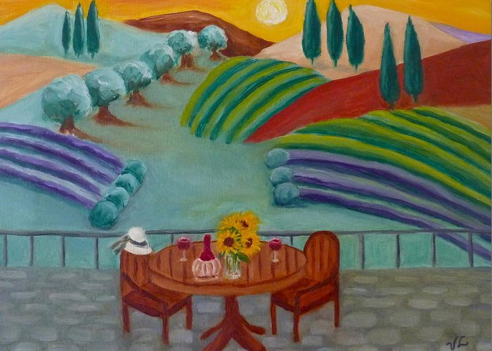 Tuscany Greeting Card featuring the painting Tuscan Dreams by Victoria Lakes