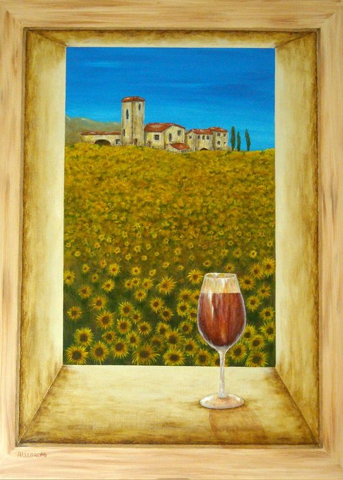 Allegretto Art Greeting Card featuring the painting Tuscan View by Pamela Allegretto
