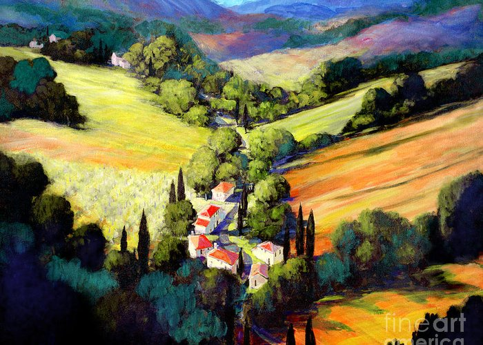 Tuscan Valley Greeting Card featuring the painting Tuscany by Michael Swanson