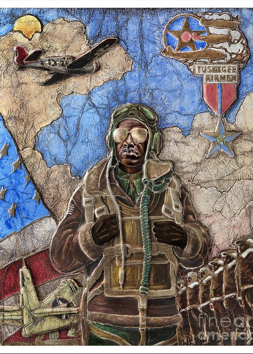 Tuskegee Airman Greeting Card featuring the painting Tuskegee Airman by Anthony High