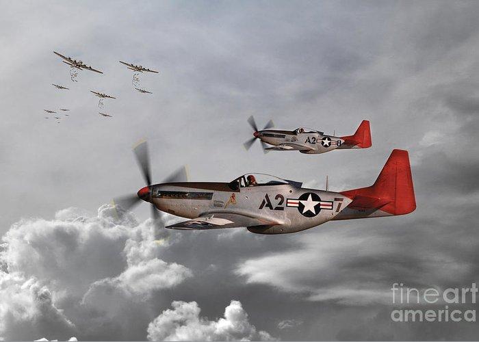 P51 Greeting Card featuring the digital art Tuskegee Airmen by J Biggadike