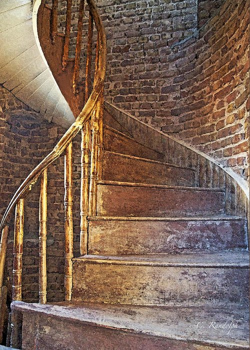 Spiral Wooden Stairs Greeting Card featuring the photograph Twist And Turn by Cheri Randolph