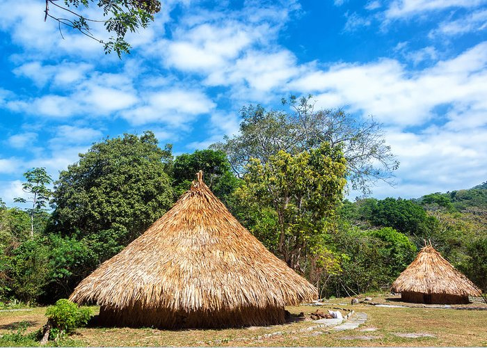 Colombia Greeting Card featuring the photograph Two Indigenous Huts by Jess Kraft