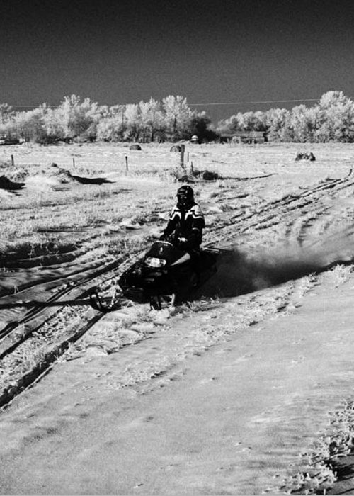 Man Greeting Card featuring the photograph two men on snowmobiles crossing frozen fields in rural Forget Saskatchewan Canada by Joe Fox