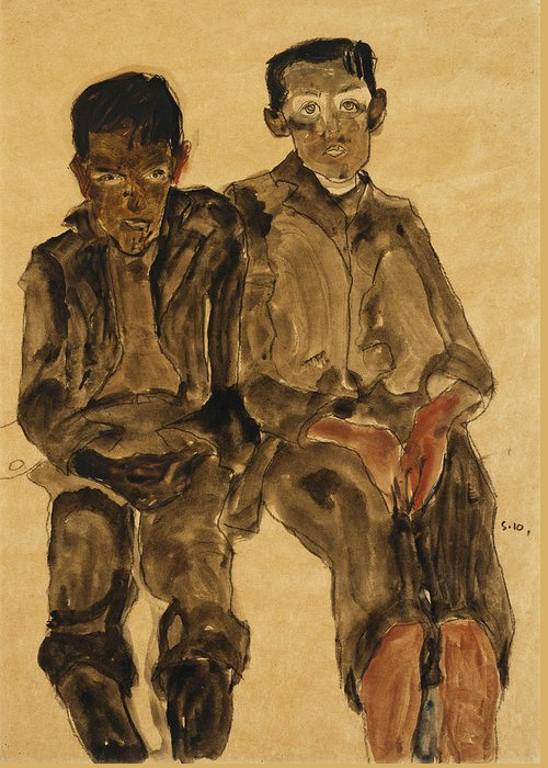 Austrian Art; Austrian Artist; Aversion; Boys Greeting Card featuring the painting Two Seated Boys by Egon Schiele