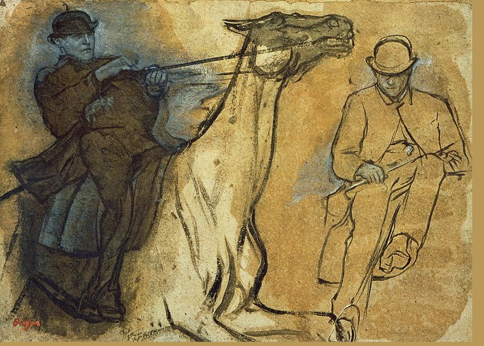 Rider Greeting Card featuring the painting Two Studies Of Riders by Edgar Degas