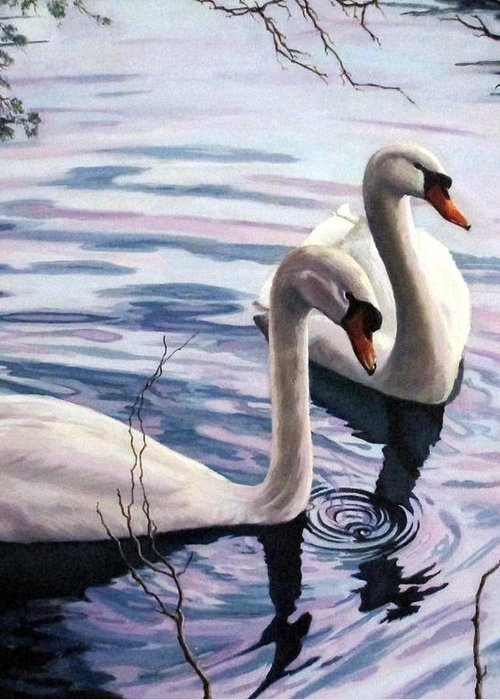Swan Greeting Card featuring the painting Two Swans A Swimming by Sandra Chase