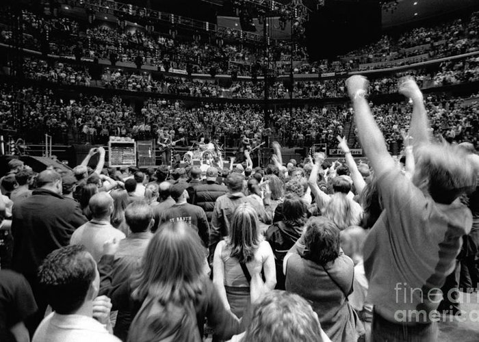 Bono Greeting Card featuring the photograph U2-crowd-gp13 by Timothy Bischoff