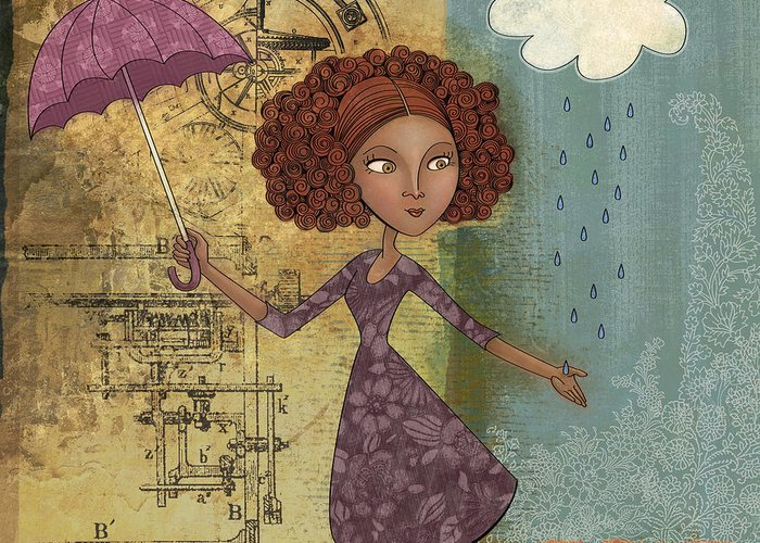 Girl Greeting Card featuring the drawing Umbrella Girl by Karyn Lewis Bonfiglio