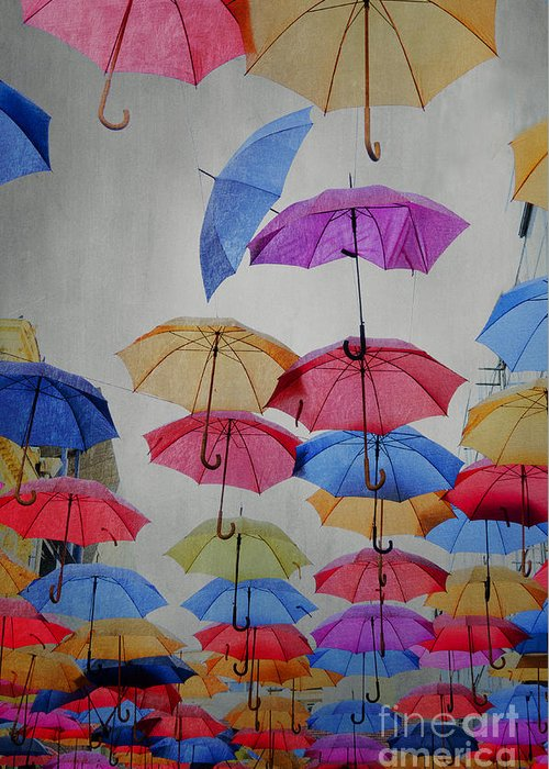 Art Greeting Card featuring the pyrography Umbrellas by Jelena Jovanovic