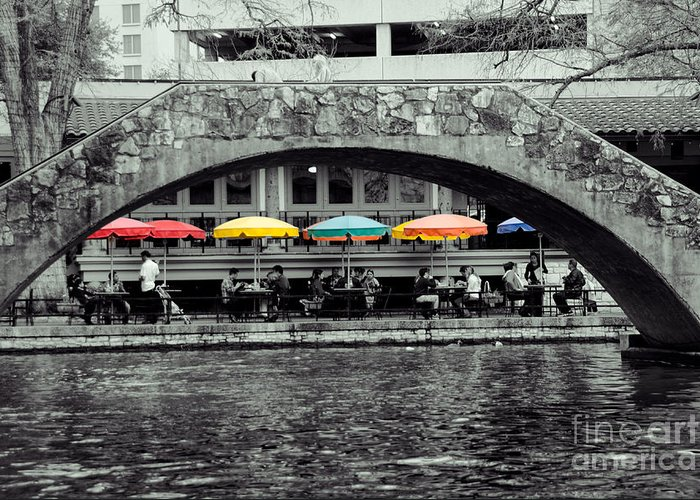 B&w Greeting Card featuring the digital art Umbrellas Of Many Colors by John Kain