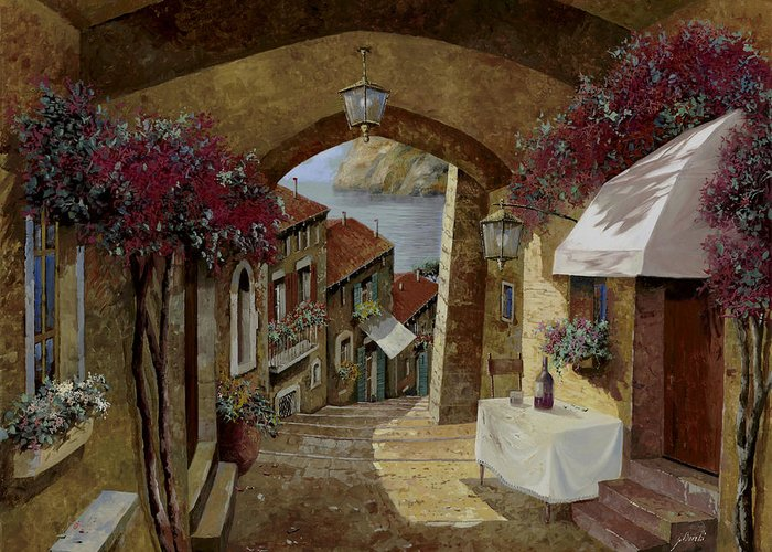 Streetscape Greeting Card featuring the painting Un Bicchiere Sotto Il Lampione by Guido Borelli