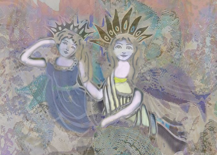 Angels Greeting Card featuring the mixed media Under The Sea by Amelia Carrie