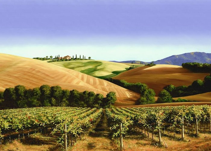 Tuscan Landscape Greeting Card featuring the painting Under The Tuscan Sky by Michael Swanson