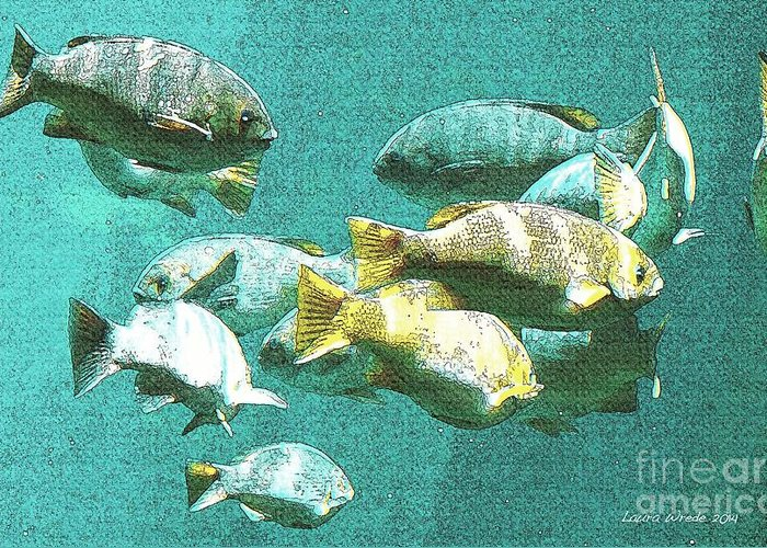 Fish Underwater Greeting Card featuring the digital art Underwater Fish Swimming By by Artist and Photographer Laura Wrede